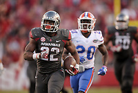 NWA Democrat-Gazette/BEN GOFF @NWABENGOFF<br /> Rawleigh Williams III, Arkansas running back, breaks away for a touchdown in the 4th quarter against Florida on Saturday Nov. 5, 2016 during the game in Razorback Stadium in Fayetteville.