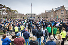 April 2, 2018; Students and fans gather on south quad to welcome home the women's basketball team after their win in the NCAA National Championship game on Sunday. (Photo by Barbara Johnston/University of Notre Dame)