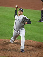 New York Yankees relief pitcher Dellin Betances (68) pitches in the ninth inning against the Baltimore Orioles at Oriole Park at Camden Yards in Baltimore, MD on Tuesday, July 10, 2018.  The Orioles won the game 6 - 5.<br /> Credit: Ron Sachs / CNP<br /> (RESTRICTION: NO New York or New Jersey Newspapers or newspapers within a 75 mile radius of New York City) Credit: Ron Sachs/MediaPunch