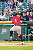 Ronny Cedeno (5) of the Sacramento River Cats at bat against the Salt Lake Bees in Pacific Coast League action at Smith's Ballpark on April 17, 2015 in Salt Lake City, Utah.  (Stephen Smith/Four Seam Images)
