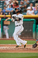 Rey Navarro (13) of the Salt Lake Bees bats against the Fresno Grizzlies at Smith's Ballpark on September 3, 2017 in Salt Lake City, Utah. The Bees defeated the Grizzlies 10-8. (Stephen Smith/Four Seam Images)