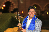 Winning captain Jose Maria Olazabal with the Ryder Cup at the end of Sunday's singles matches at the Ryder Cup 2012, Medinah Country Club,Medinah, Illinois,USA 30/09/2012.Picture: Fran Caffrey/www.golffile.ie.