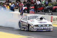 May 10, 2013; Commerce, GA, USA: NHRA pro stock driver Larry Morgan during qualifying for the Southern Nationals at Atlanta Dragway. Mandatory Credit: Mark J. Rebilas-
