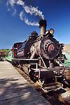 Alberni Pacific Railway historic steam locomotive at Port Alberni train station, Alberni Valley, Vancouver Island, BC, Canada 2018 Image © MaximImages, License at https://www.maximimages.com