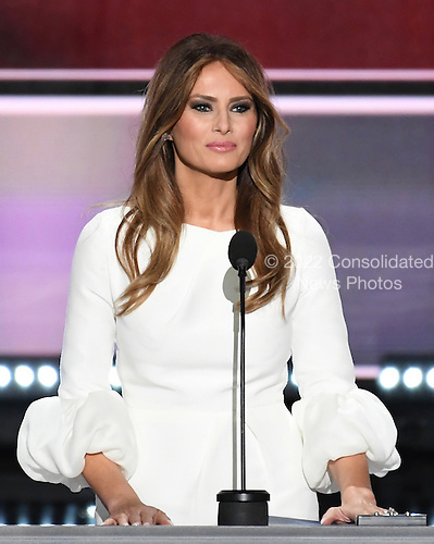 Melania Trump makes remarks at the 2016 Republican National Convention held at the Quicken Loans Arena in Cleveland, Ohio on Monday, July 18, 2016.<br /> Credit: Ron Sachs / CNP<br /> (RESTRICTION: NO New York or New Jersey Newspapers or newspapers within a 75 mile radius of New York City)