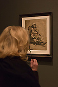 """Pictured: Archimedes (?) c. 1518-20 by Ugo da Carpi (c. 1501-1532) after Raphael. Press preview of the exhibition """"Renaissance Impressions: Chiaroscuro Woodcuts from the Collections of Georg Baselitz and the Albertina, Vienna"""", opens at the Royal Academy of Art on 15 March 2014. The exhibition at the Sackler Wing of Galleries runs from 15 March to 8 June 2014 and presents over 150 rare prints by the chief practitioners of the Chiaroscuro woodcutting technique in Germany, Italy and the Netherlands held at the Albertina Museum in Vienna and in the personal collection of the Honorary Royal Academian Georg Baselitz."""