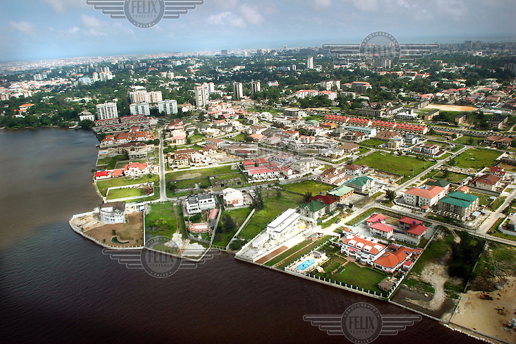 An aerial view of part of Banana Island, Ikoyi. The island was reclaimed from the the waters of Lagos Lagoon and has some of Nigeria's most expensive real estate.
