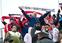 21 April 2012: The Chicago Fire fans which made the trip to Toronto show their support in a game between the Chicago Fire and Toronto FC at BMO Field in Toronto..The Chicago Fire won 3-2...