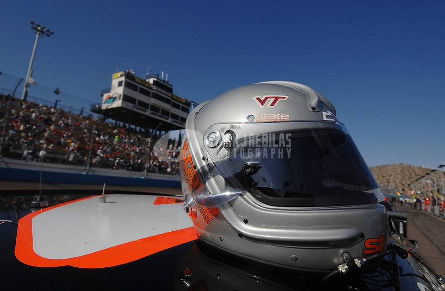 Apr 21, 2007; Avondale, AZ, USA; The helmet of Nascar Nextel Cup Series driver Ward Burton (4) displays a Virginia Tech logo in memory of those killed in the campus shootings this week during the Subway Fresh Fit 500 at Phoenix International Raceway. Mandatory Credit: Mark J. Rebilas