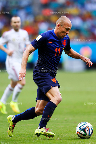 Arjen Robben (NED), JUNE 13, 2014 - Football / Soccer : FIFA World Cup Brazil 2014 Group B match between Spain 1-5 Netherlands at Arena Fonte Nova in Salvador, Brazil. (Photo by D.Nakashima/AFLO)