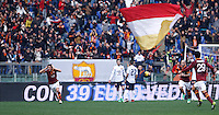 Calcio, Serie A: Roma-Genoa. Roma, stadio Olimpico, 12 gennaio 2014.<br /> AS Roma midfielder Alessandro Florenzi, left, celebrates after scoring during the Italian Serie A football match between AS Roma and Genoa, at Rome's Olympic stadium, 12 January 2014. <br /> UPDATE IMAGES PRESS/Isabella Bonotto