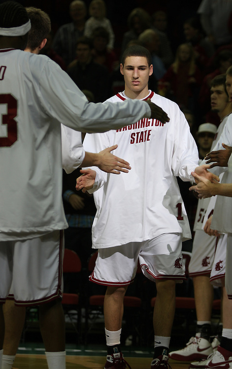 Klay Thompson, Washington State University freshman guard, is introduced as part of the starting lineup during a game on December 13, 2008, at Key Arena in Seattle, Washington, against Montana State.  Thompson scored 14 points in the game to lead the team in scoring as he and the rest of his Cougar teammates defeated Montana State 70-51.