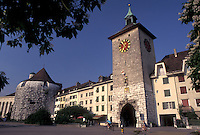 clock tower, Solothurn, Switzerland, Old medieval gate at the entrance to the city of Solothurn.