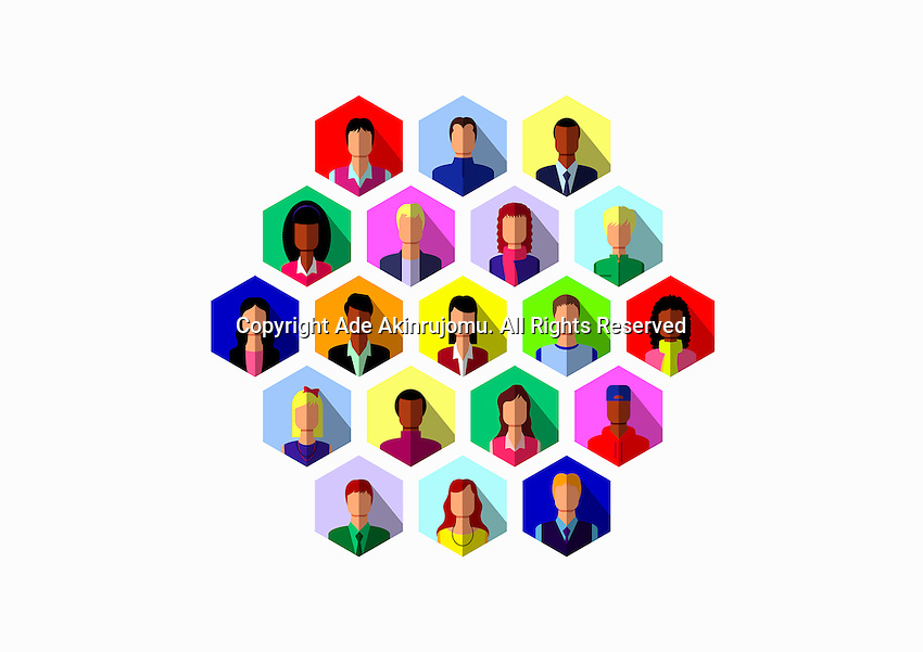 Lots of people connected in hexagon pattern