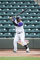 Gerson Montilla (17) of the Winston-Salem Dash at bat against the Wilmington Blue Rocks at BB&T Ballpark on June 5, 2016 in Winston-Salem, North Carolina.  The Blue Rocks defeated the Dash 6-2 in the completion of the game suspended on June 4, 2016.   (Brian Westerholt/Four Seam Images)