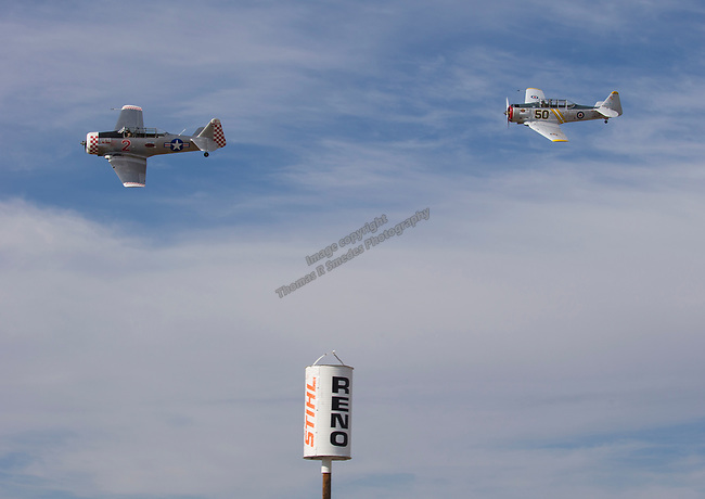 Vitaly Pechersky, right, from Van Nuys, CA races Chris LeFave from Rancho Cucamonga, CA race during the National Championship Air Races in Reno, Nevada on Sunday, September 17, 2017.