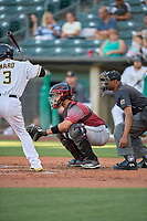 Aramis Garcia (49) of the Sacramento River Cats on defense against the Salt Lake Bees at Smith's Ballpark on July 18, 2019 in Salt Lake City, Utah. The Bees defeated the River Cats 9-6. (Stephen Smith/Four Seam Images)