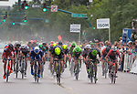 August 10, 2017 - Colorado Springs, Colorado, U.S. -  Holowesko/Citadel rider, John Murphy (yellow helmet), leads a field sprint on his way to the opening stage win during the inaugural Colorado Classic cycling race, Colorado Springs, Colorado.