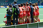 The Hague, Netherlands, June 13: Players of Korea pose after the field hockey placement match (Women - Place 7th/8th) between Korea and Germany on June 13, 2014 during the World Cup 2014 at Kyocera Stadium in The Hague, Netherlands. Final score 4-2 (2-0)  (Photo by Dirk Markgraf / www.265-images.com) *** Local caption ***
