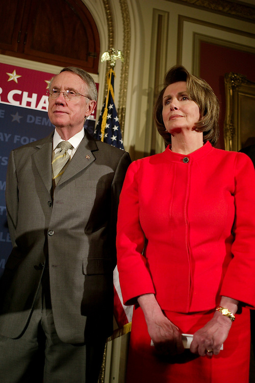 WASHINGTON, DC - Dec. 19: Senate Majority Leader Harry Reid, D-Nev., and House Speaker Nancy Pelosi, D-Calif., and other Democratic leaders during a news conference on the first session of the 110th Congress, which is coming to a close. The second session will convene for the Senate on Jan. 22, 2008, and the House will reconvene Jan. 15. (Photo by Scott J. Ferrell/Congressional Quarterly).