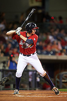 Mississippi Braves outfielder David Rohm (24) at bat during a game against the Pensacola Blue Wahoos on May 28, 2015 at Trustmark Park in Pearl, Mississippi.  Mississippi defeated Pensacola 4-2.  (Mike Janes/Four Seam Images)
