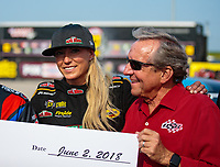 Jun 2, 2018; Joliet, IL, USA; NHRA top fuel driver Leah Pritchett (left) with team owner Don Schumacher during qualifying for the Route 66 Nationals at Route 66 Raceway. Mandatory Credit: Mark J. Rebilas-USA TODAY Sports
