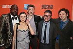 Brian Tyree Henry, Bel Powley, Chris Evans, Trip Cullman and Michael Cera attend the the Broadway Opening Night Performance After Party for 'Lobby Hero' at Bryant Park Grill on March 26, 2018 in New York City.
