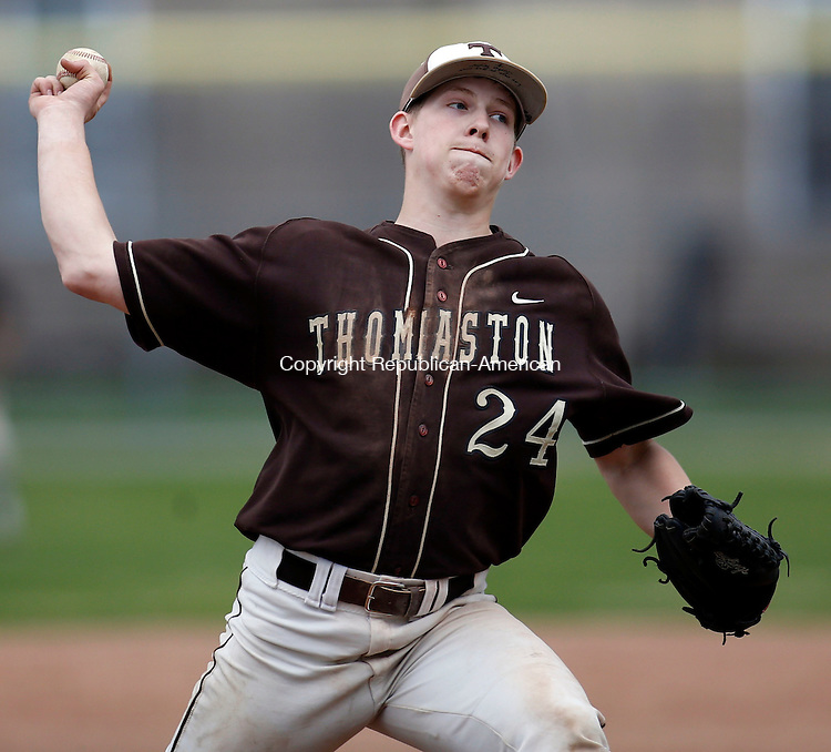 Torrington, CT- 02 May 2015-050215CM04-   Thomaston's Justin Tyler delivers a pitch against Torrington during their baseball matchup in Torrington on Saturday.  Torrington would go onto win, 12-8.    Christopher Massa Republican-American