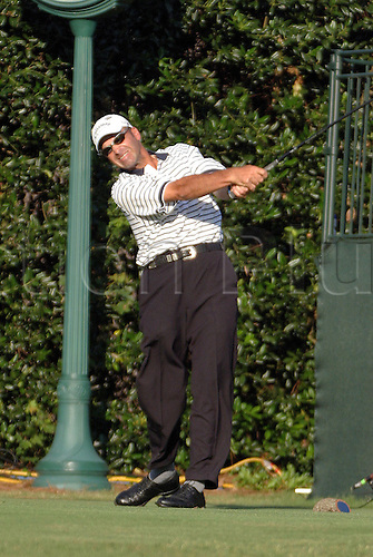 16 June 2005:  American golfer Rocco Mediate (USA) looks into the distance after playing a tee shot during the first round of the U.S. Open at Pinehurst Resort and Country Club in Pinehurst, North Carolina. Mediate shot 67 to be joint overnight leader. Photo: Gary Brittain/Actionplus. .050616 golf man mens