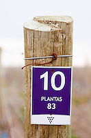 Sign on a wooden post in the vineyard saying that this is plot number 10 Bodega NQN Winery, Vinedos de la Patagonia, Neuquen, Patagonia, Argentina, South America