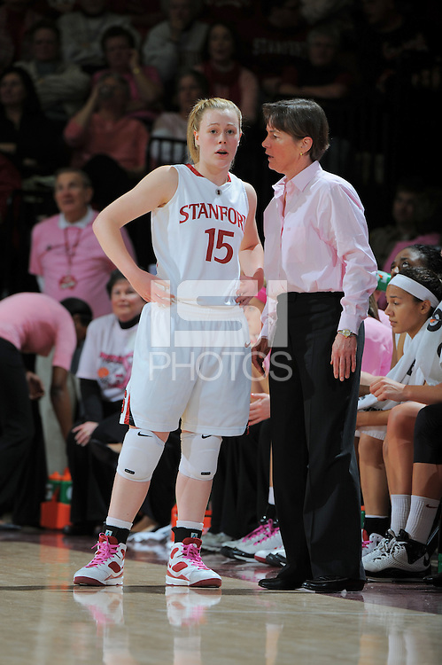 STANFORD, CA - FEBRUARY 14:  Guard Lindy La Rocque #15 and head coach Tara VanDerveer (right) of the Stanford Cardinal during Stanford's 58-41 win against the California Golden Bears on February 14, 2009 at Maples Pavilion in Stanford, California.