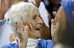 French national basketball team supporter and Joakim Noah grandmother before start of final Eurobasket 2011 game between Spain and France in Kaunas, Lithuania, Sunday, September 18, 2011. (photo: Pedja Milosavljevic)