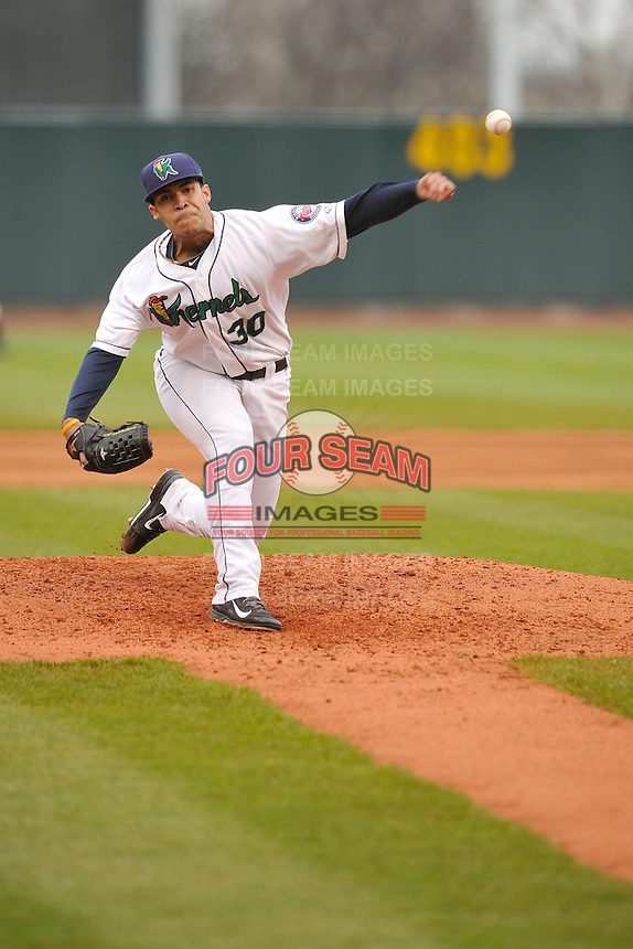 Josue Montanez #30 of the Cedar Rapids Kernels pitches against the Kane County Cougars at Perfect Game Field on May 1, 2014 in Cedar Rapids, Iowa. The Kernels won 5-2.   (Dennis Hubbard/Four Seam Images)