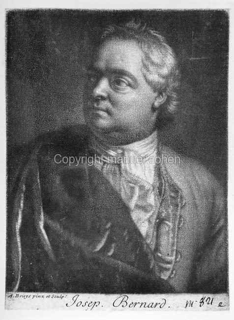 Portrait of Joseph Bernard, engraving after Andre Bouys, 1656-1740, French portrait painter and mezzotint engraver. Copyright © Collection Particuliere Tropmi / Manuel Cohen