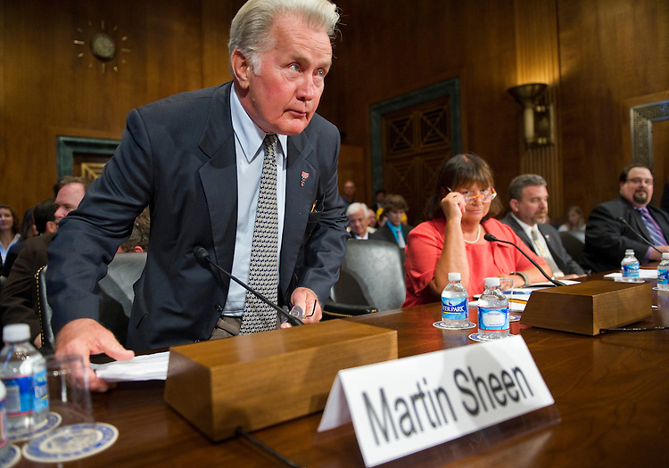 WASHINGTON, DC - July 19: Actor Martin Sheen testifies during the Senate Judiciary Subcommittee on Crime and Terrorism hearing on drug and veterans treatment courts. On the panel with him are Judge Jeanne E. LaFazia, of the Rhode Island District Court; Dr. Douglas B. Marlowe, of the National Association of Drug Court Professionals; and Dr. David Muhlhausen, of The Heritage Foundation. (Photo by Scott J. Ferrell/Congressional Quarterly)
