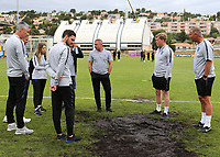 England Manager, Paul Simpson and his coaching staff are not happy with the state of the pitch during Guatemala Under-23 vs England Under-20, Tournoi Maurice Revello Football at Stade Marcel Cerdan on 11th June 2019