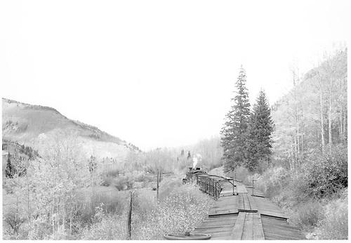Stock train above Matterhorn.<br /> RGS  above Matterhorn, CO  Taken by Richardson, Robert W. - 10/12/1945