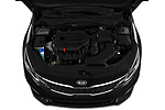 Car Stock 2020 KIA Optima LX 4 Door Sedan Engine  high angle detail view