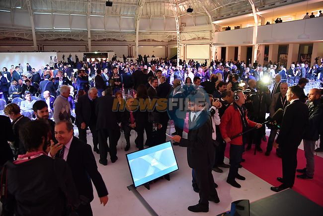 The 100th edition Giro d`Italia 2017 route presentation held at the Ice Palace in Milan, 25th October 2016.<br /> Picture: ANSA/Luca Zennaro   Newsfile<br /> <br /> <br /> All photos usage must carry mandatory copyright credit (&copy; Newsfile   ANSA/Luca Zennaro)