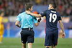 Atletico de Madrid's Lucas Hernandez (r) with the italian referee Nicola Rizzoli during Champions League 2015/2016 Quarter-Finals 2nd leg match. April 13,2016. (ALTERPHOTOS/Acero)