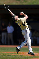 Phil Negus #22 of the Wake Forest Demon Deacons can catch this infield fly versus the Duke Blue Devils at Jack Coombs Field March 29, 2009 in Durham, North Carolina. (Photo by Brian Westerholt / Four Seam Images)
