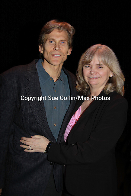 "Guiding Light Grant Aleksander ""Brutus"" posing with wife Sherry Ramsey stars in ""Eve of Ides"" a part of Lend Us Your Ears Play Reading Series on March 12, 2012 at the Shakespeare Theatre of New Jersey, Madison, New Jersey.  (Photo by Sue Coflin/Max Photos)"