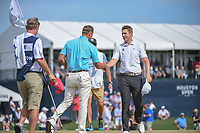 Shawn Stefani (USA) shakes hands with Luke List (USA) on 18 following round 4 of the Houston Open, Golf Club of Houston, Houston, Texas. 4/1/2018.<br /> Picture: Golffile | Ken Murray<br /> <br /> <br /> All photo usage must carry mandatory copyright credit (&copy; Golffile | Ken Murray)