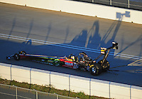 Jan. 20, 2012; Jupiter, FL, USA: Aerial view of NHRA top fuel dragster driver Terry McMillen during testing at the PRO Winter Warmup at Palm Beach International Raceway. Mandatory Credit: Mark J. Rebilas-