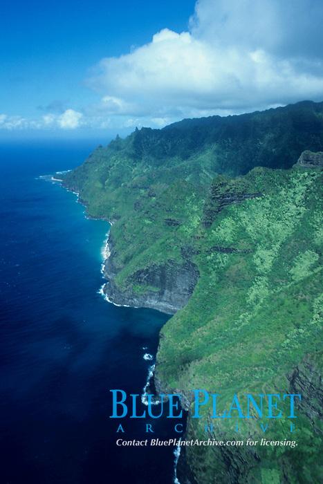 Napali coast, aerial view, Kauai, Hawaii, Pacific Ocean