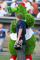 Batavia Muckdogs have the Phillie Phanatic on hand, with umpire Tripp Gibson, during a NY-Penn League game at Dwyer Stadium on August 4, 2006 in Batavia, New York.  (Mike Janes/Four Seam Images)