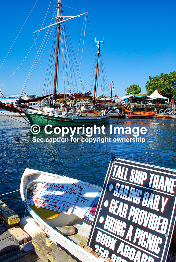 Tall ship, yacht, sailing, trips, Thane, Victoria, British Columbia, Canada, downtown, harbour, flowers, boats, yachts, 200809101271..Copyright Image from Victor Patterson, 54 Dorchester Park, Belfast, N Ireland, BT9 6RJ...Tel: +44 28 9066 1296.Mob: +44 7802 353836.Email: victorpatterson@mac.com..IMPORTANT: Go to www.victorpatterson.com and click on Terms & Conditions