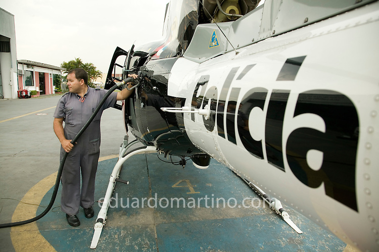 Filling up one of the Aguia helicopters' tank at Campo de Marte airport.