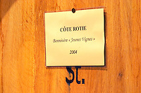 A barrel with a sign saying Cote Rotie Bonnivere Jeunes Vignes 2004 (young vines)  Domaine Yves Cuilleron, Chavanay, Ampuis, Rhone, France, Europe
