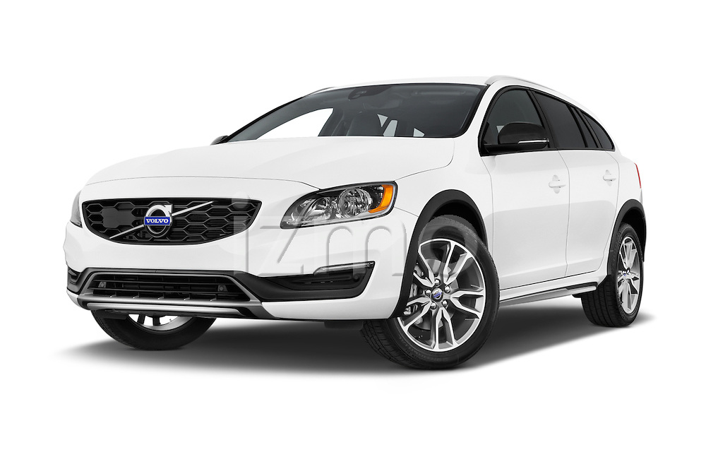 Stock pictures of low aggressive front three quarter view of a 2015 Volvo V60 Summum 5 Door Wagon
